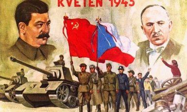 """Oslava """"osvobození Rudou armádou"""" na plakátu z doby třetí republiky (1945–1948)  (profimedia.cz)"""
