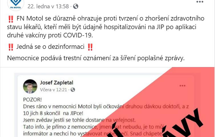 Screenshot facebook FN Motol