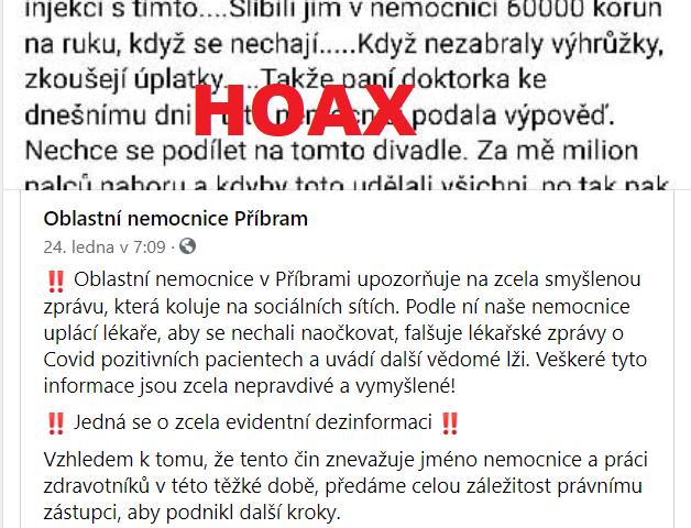 Screenshot facebook Nemocnice Příbram