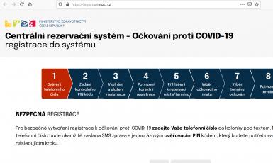 Print screen Centrální rezervační systém