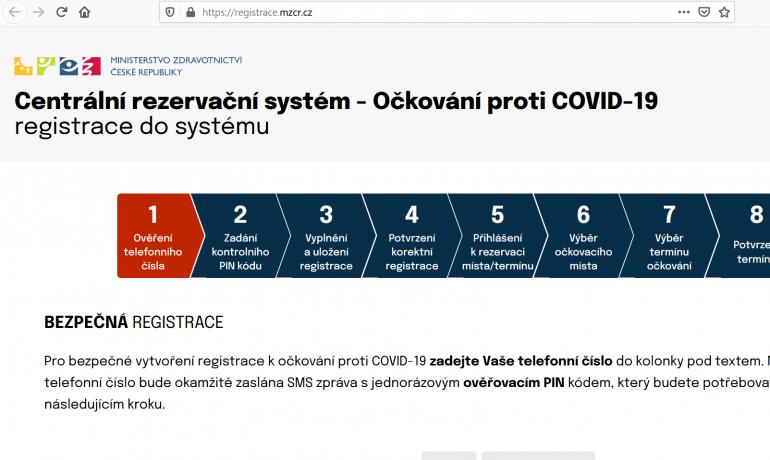 Centrální rezervační systém zatím poněkud nefunguje... (Print screen Centrální rezervační systém)