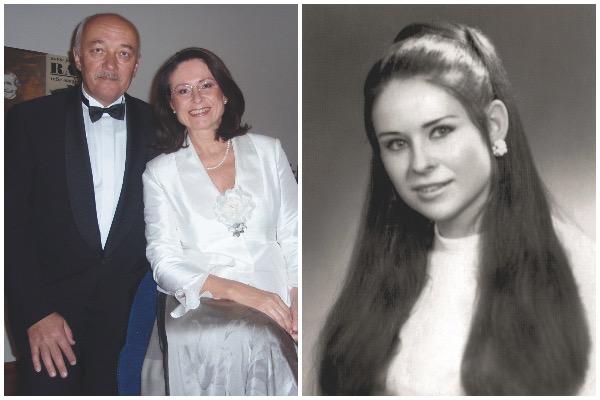 Miroslava Němcová – vlevo s manželem, vpravo před maturitou (archiv M. N.)