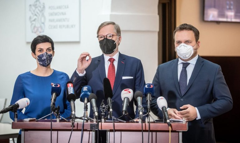 Lídři koalice SPOLU – Markéta Pekarová Adamová, Petr Fiala a Marian Jurečka  (Občanská demokratická strana / použito se svolením autora)