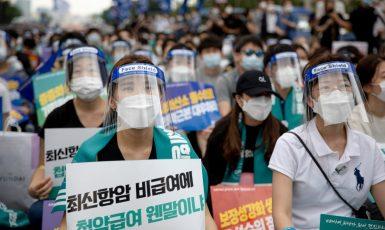 Protesty lékařů proti vládě v Jižní Koreji (FB)