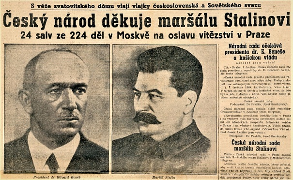 """Článek """"Český národ děkuje maršálu Stalinovi"""" (archiv autora)"""