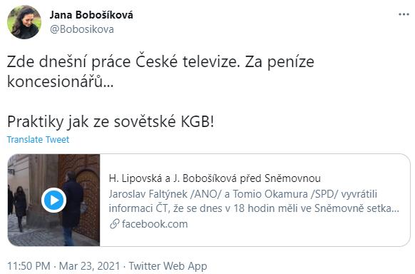 Twitter Jany Bobošíkové