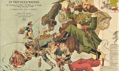 Východní Evropa měla také v minulosti podobu hrozby (britská karikatura z roku 1899)  (Archiv NO)