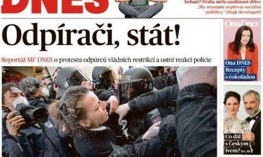Titulní strana Babišovy Mladé fronty DNES z pondělí 8. března (screenshot MF DNES)