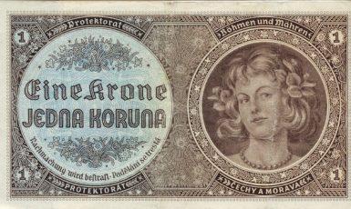 Papírová koruna platná v Protektorátu Čechy a Morava (1940) (wikimedia commons (volné dílo))