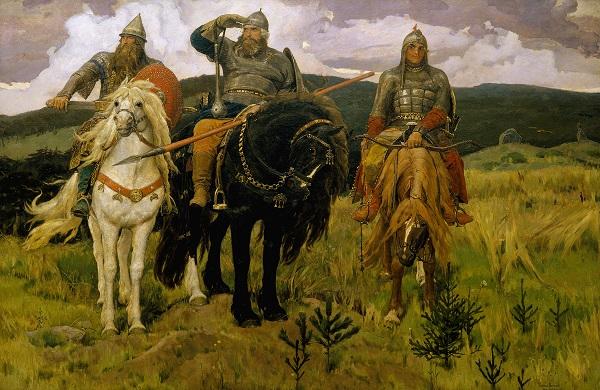 Bohatýři Dobryňa Nikitič, Ilja Muromec a Aljoša Popovič chrání Svatou matku Rus před cizáky (V. M. Vasněcov, 1898) (wikipedie)