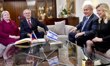 Miloš Zeman a Benjamin Netanjahu s manželkami (Jeruzalém, 27. 11. 2018) (ČTK (Vít Šimánek))