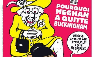 Titulní strana nového vydání Charlie Hebdo s karikaturou královny Alžběty II. a Meghan Markle (twitter @Charlie_Hebdo_)