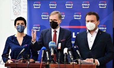 Lídři koalice SPOLU – Petr Fiala (ODS), Markéta Pekarová Adamová (TOP 09), Marian Jurečka (KDU-ČSL). (Občanská demokratická strana)