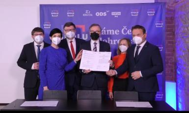 Podpis koaliční smlouvy koalice Spolu (ODS)