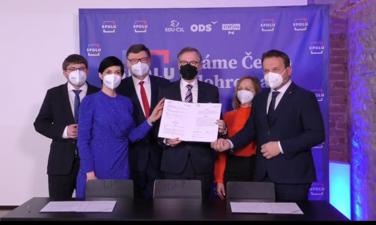 Podpis koaliční smlouvy koalice Spolu (ODS / se svolením autora)