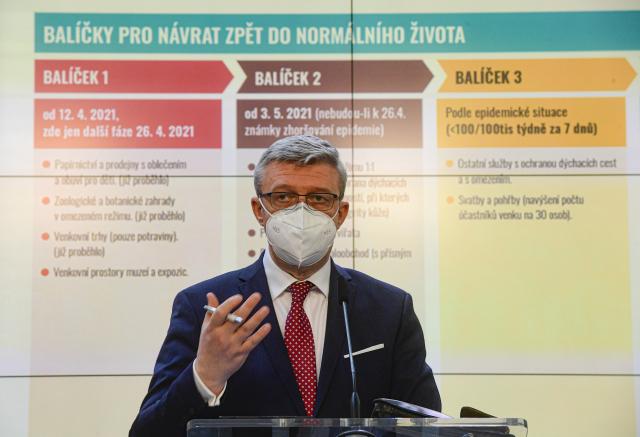 Vicepremiér Karel Havlíček vystoupil 22. dubna 2021 v Praze na tiskové konferenci po mimořádném zasedání vlády. (ČTK)