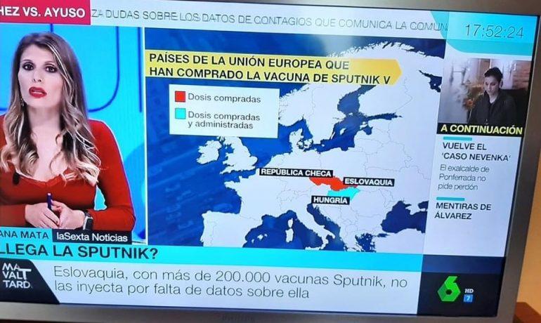 Záběr ze španělské TV (Veronika Capáková)