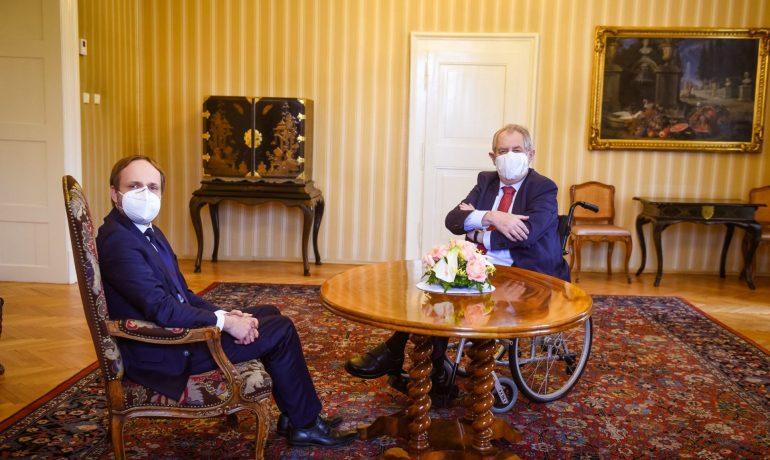 Prezident Miloš Zeman a ministr zahraničí Jakub Kulhánek (Pražský hrad)