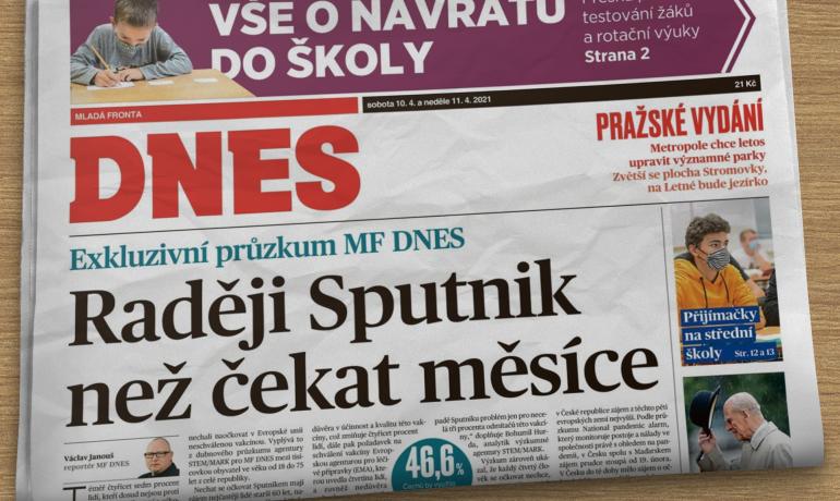 Sobotní (10. dubna 2021) vydání deníku MF DNES (Forum 24)