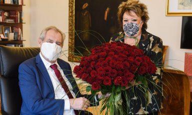 Miloš Zeman a Jiřina Bohdalová (Twitter Jiřího Ovčáčka)