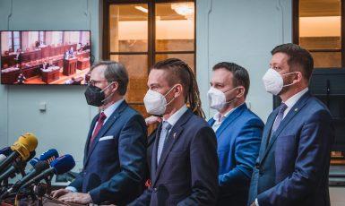 Předsedové stran demokratické opozice (SPOLU, Piráti, STAN) (Tony Havlík/FORUM 24)