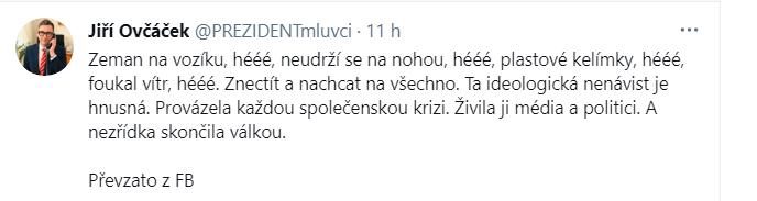 Twitter/Jiří Ovčáček