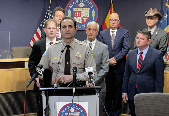 Maricopa County Sheriff Paul Penzone and other elected officials from Maricopa County refute allegations of irregularities with the county's handling of the 2020 election, during a news conference in Phoenix, Monday, May 17, 2021. (AP Photo/Jonathan J. Cooper) ()