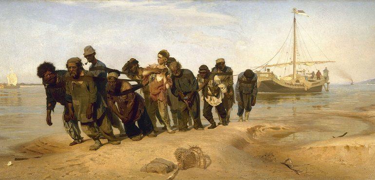 Ilja Repin, Burlaci na Volze (1873, olejomalba) (Státní ruské muzeum v Sank-Petěrburgu (Wikimedia Commons))