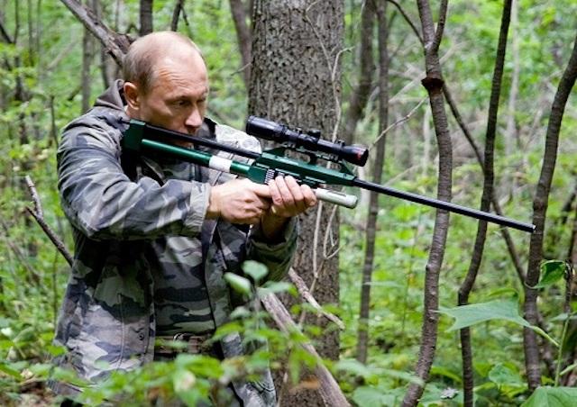 Putin s uspávací puškou číhá na tygra ussurijského (2008) (Úřad vlády RF (wikimedia commons))