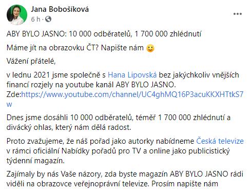 Facebook/Jana Bobošíková