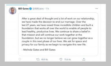 Bill a Melinda Gatesovi oznamují rozvod. (Bill Gates/@BillGates)