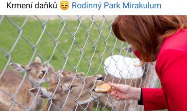 Paní ministryně krmí zvířata v zoo.  (Facebook/ Alena Schillerová)