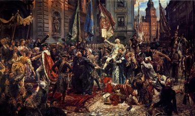 Přijetí Ústavy 3. května na olejomalbě Jana Matejka z roku 1891  (wikimedia commons)