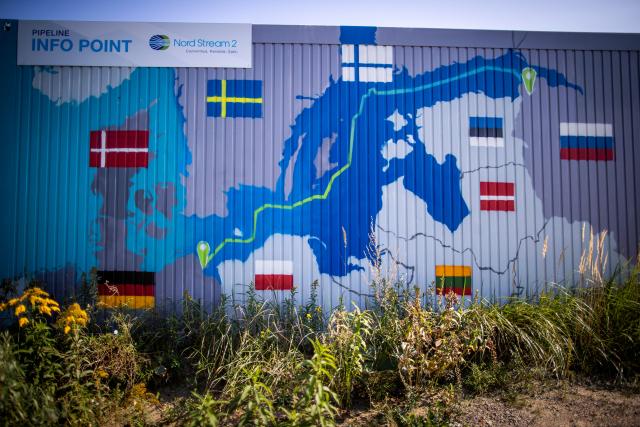 Informační centrum pro Nord Stream 2 v německém Lubminu vizualizuje geostrategický význam projektu pro Rusko  (ČTK/DPA/Jens Büttner)