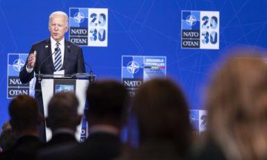 Tisková konference amerického prezidenta Bidena na summitu NATO v Bruselu (14. 6. 2021) (ČTK/ZUMA/Nicolas Landemard)