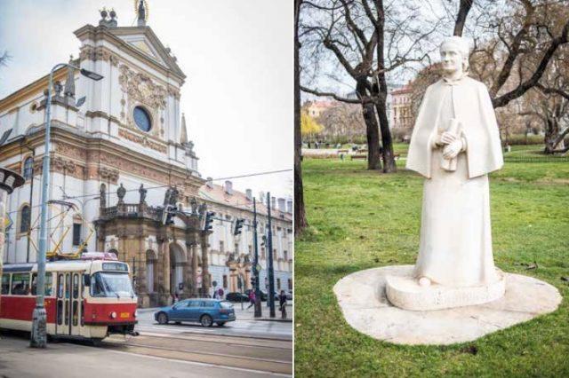 Karlovo náměstí v Praze – jezuitský kostel sv. Ignáce a socha Elišky Krásnohorské (FORUM 24 (Alena Spálenská))