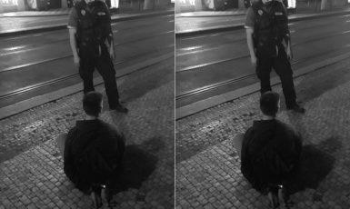 """Hrdinný"" městský policista na Masarykově nádraží v Praze (Petr Pazdera Payne / se svolením autora)"