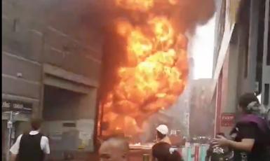 Centrum Londýna zachvátil požár (Se souhlasem Megan Jaerum)