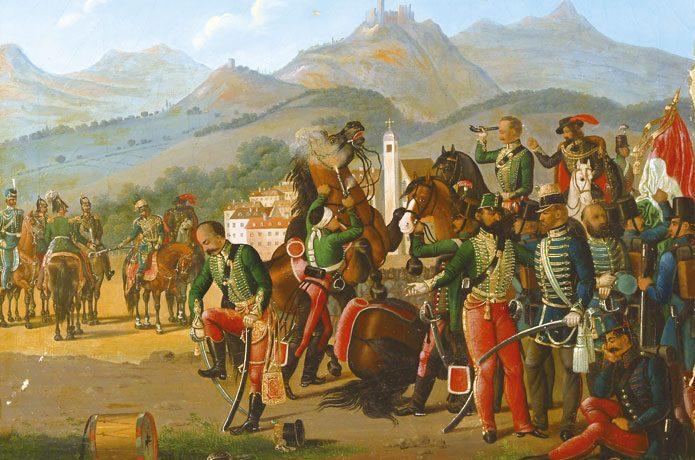 Maďarská kapitulace před Rusy u Világoše (1849) na soudobé olejomalbě neznámého autora (Autor neznámý (Nagyhazi.hu) / Wikimedia Commons / Public Domain)