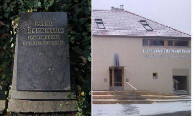 """Hrob Pavla Rosenbauma na pražských Olšanech a někdejší Rosenbaumův statek v Úvalech, dnes centrum """"Pětašedesátka""""  (Lenka Mandová/Město Úvaly)"""