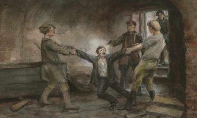 Obraz malíře Ivana Vladimirova (1870-1947). Ve sklepeních Čeky. (commons.wikimedia.org/public domain)