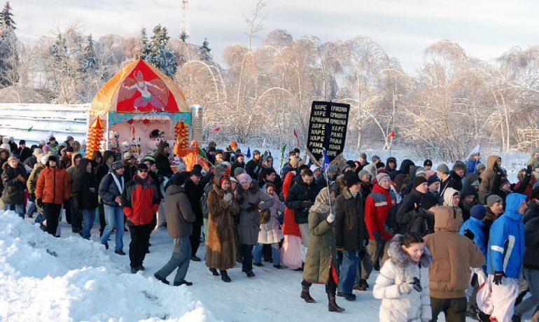 Hinduistický festival Ratha Játrá v Rusku v roce 2011. (commons.wikimedia.org/CC BY-SA 3.0)