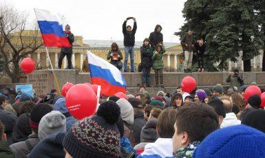 Demonstrace ruských občanů v roce 2017. To se ještě trochu protestovat smělo. (commons.wikimedia.org/CC BY-SA 2.0/Alexei Kouprianov)