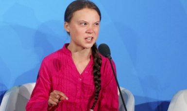 Rozzlobená švédská eko-misionářka Greta Thunberg na klimatickém summitu OSN v New Yorku (23. 9. 2019) (ČTK/PA/Jason DeCrow)