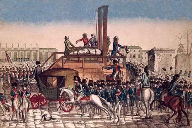 Poprava francouzského krále Ludvíka XVI. v Paříži roku 1793 (soudobé vyobrazení anonymního umělce) (wikimedia commons (Réunion des Musées Nationaux))