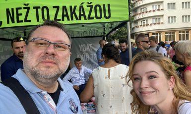 Jaroslav Kmenta a Veronika Kučíková na setkání s Andrejem Babišem v Poděbradech.  (Veronika Kučíková / FORUM 24)