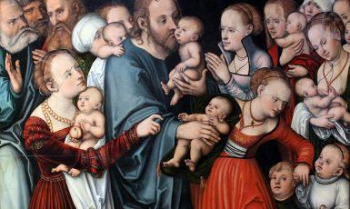 Ježíš žehnající dětem (Lucas Cranach st., olejomalba, 1538) (Städel Museum Frankfurt/M (wikimedia commons))