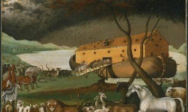 Zvířata vstupují do Noemovy archy – olejomalba Edwarda Hickse (1846) (Wikimedia Commons (Philadelphia Museum of Art))