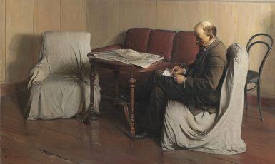 Lenin v petrohradském Smolném paláci roku 1917 na olejomalbě Isaaka Brodského (1930) (Wikimedia Commons/ State Tretyakov Gallery Moscow)