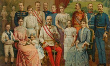 Císař František Josef I. s rodinou kolem roku 1900 (anonymní olejomalba) (Wikimedia Commons)